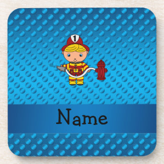 Personalized name fireman blue polka dots beverage coasters
