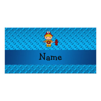 Personalized name fireman blue polka dots personalized photo card