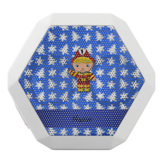 Personalized name fireman blue snowflakes trees white boombot rex bluetooth speaker