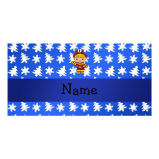 Personalized name fireman blue snowflakes trees personalised photo card