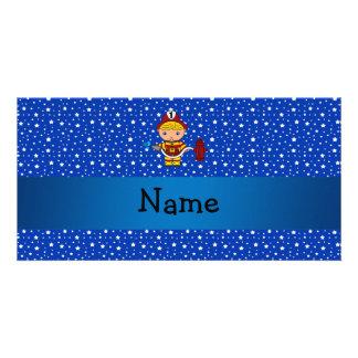 Personalized name fireman blue stars pattern customized photo card
