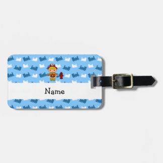 Personalized name fireman blue trains bag tag