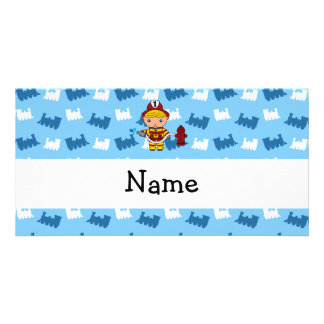 Personalized name fireman blue trains customised photo card