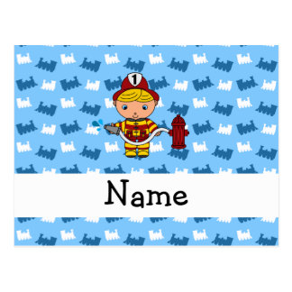 Personalized name fireman blue trains post card