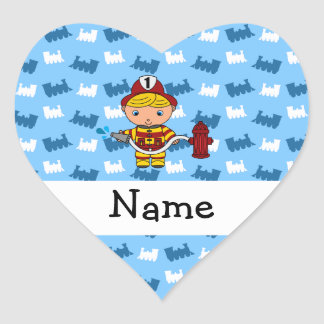 Personalized name fireman blue trains heart sticker