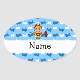 Personalized name fireman blue trains stickers
