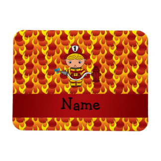Personalized name fireman flames pattern magnet