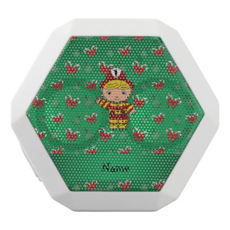 Personalized name fireman green candy canes bows white boombot rex bluetooth speaker