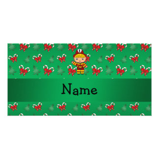 Personalized name fireman green candy canes bows customised photo card