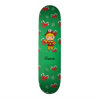 Personalized name fireman green candy canes bows custom skate board