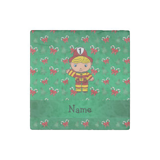 Personalized name fireman green candy canes bows stone magnet