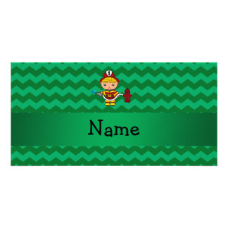 Personalized name fireman green chevrons photo greeting card