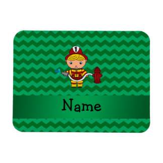 Personalized name fireman green chevrons rectangle magnets