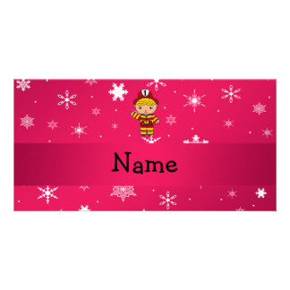 Personalized name fireman pink snowflakes photo greeting card