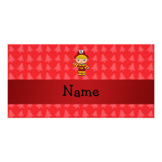 Personalized name fireman red christmas trees photo greeting card