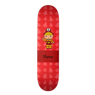 Personalized name fireman red christmas trees skate board deck