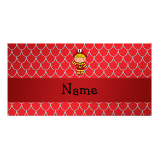 Personalized name fireman red dragon scales photo card template