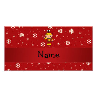 Personalized name fireman red snowflakes customized photo card