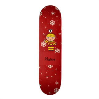 Personalized name fireman red snowflakes custom skate board