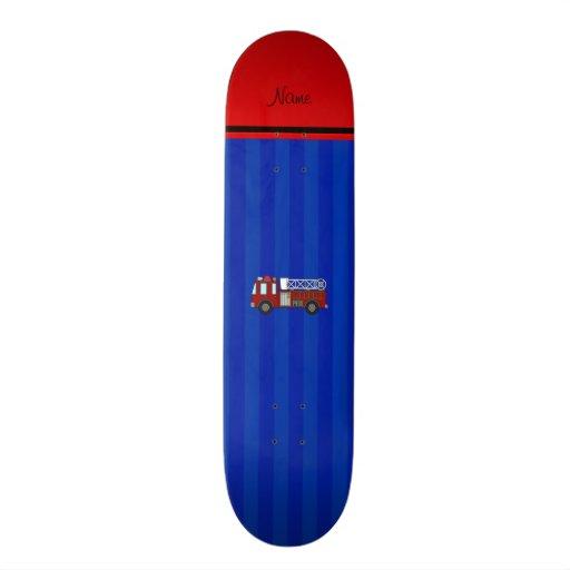 Personalized name firetruck blue stripes skateboard