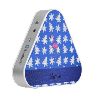 Personalized name flamingo blue snowflakes trees speaker