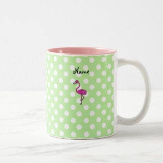 Personalized name flamingo green polka dots Two-Tone coffee mug