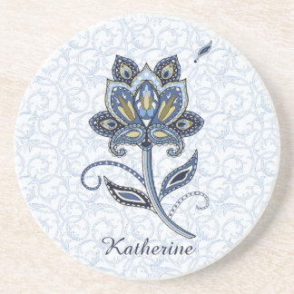 Personalized Name Floral Paisley Blue Sandstone Beverage Coasters