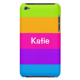 Personalized Name Fluorescent Neon Colors Striped iPod Touch Cases