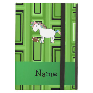 Personalized name football green squares case for iPad air