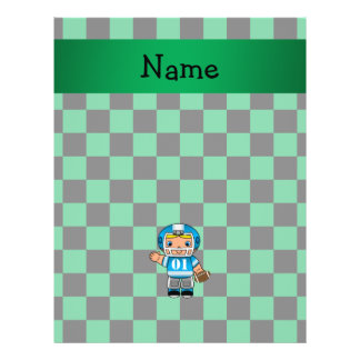 Personalized name football player green checkers full color flyer