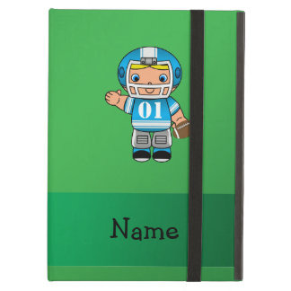 Personalized name football player green iPad covers
