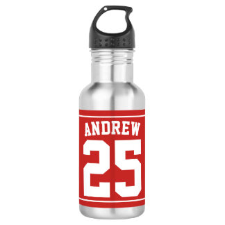 Personalized Name Football Red 532 Ml Water Bottle