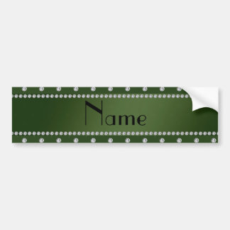 Personalized name forest green diamonds bumper sticker