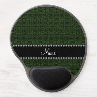 Personalized name forest green moroccan trellis gel mouse pad