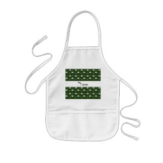 Personalized name forest green train pattern aprons