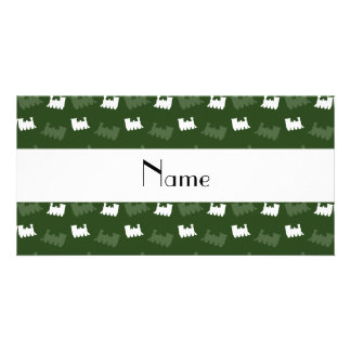 Personalized name forest green train pattern personalized photo card