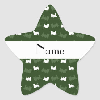Personalized name forest green train pattern stickers