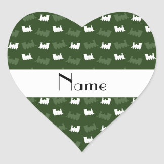 Personalized name forest green train pattern heart sticker