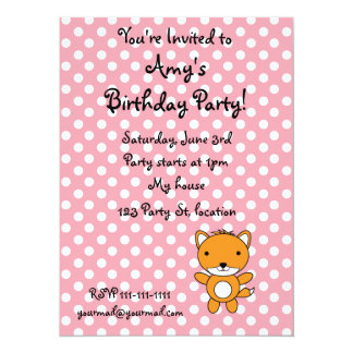 "Personalized name fox pink polka dots 5.5"" x 7.5"" invitation card"