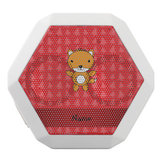 Personalized name fox red christmas trees white boombot rex bluetooth speaker