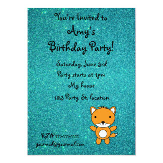 Personalized name fox turquoise glitter 5.5x7.5 paper invitation card