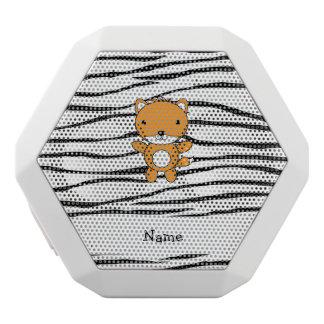 Personalized name fox zebra stripes white boombot rex bluetooth speaker