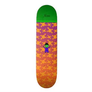 Personalized name frankenstein orange purple skull skate board deck