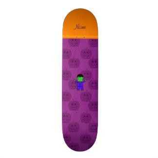 Personalized name frankenstein purple pumpkins skateboard