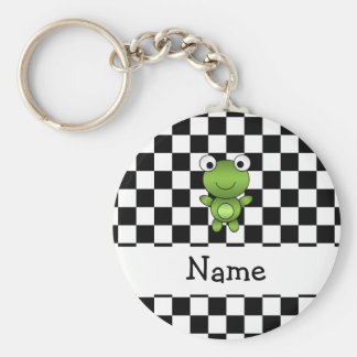 Personalized name frog black and white checkers basic round button key ring