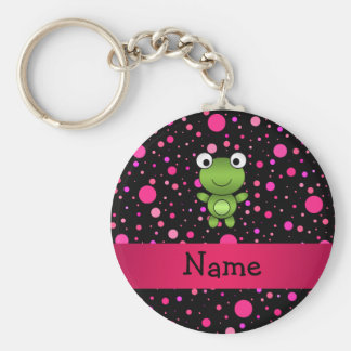 Personalized name frog black pink polka dots basic round button key ring