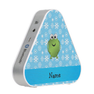 Personalized name frog blue snowflakes