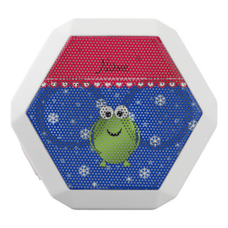 Personalized name frog blue snowflakes red stripe