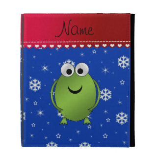 Personalized name frog blue snowflakes red stripe iPad folio cases