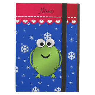 Personalized name frog blue snowflakes red stripe iPad air covers
